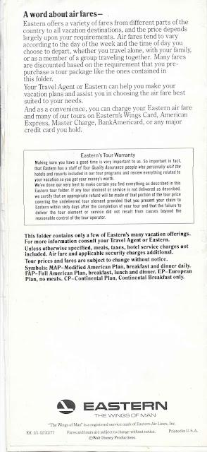 Back Walt Disney World Eastern Airlines Guide 1977