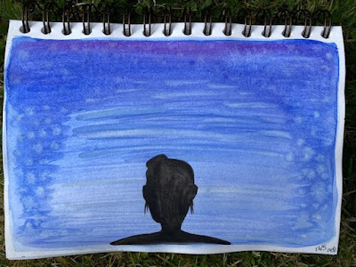 Black silhouette head against blue and purple watercolour background