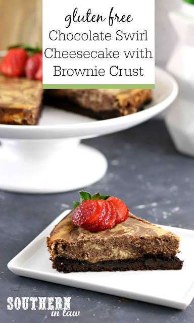 Easy Gluten Free Chocolate Swirl Cheesecake with Brownie Crust - gluten free, baked cheesecake, easy dessert recipes
