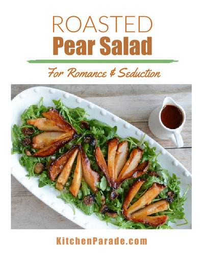 Roasted Pear Salad ♥ KitchenParade.com, pears roasted then steeped in a wine and butter sauce and served on salad greens with toasted goat cheese. An elegant salad worthy of a special occasion.