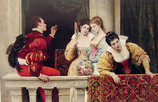 Beautiful young women and handsome suitors would often feature in De Blaas's work, as with On the Balcony (1877)