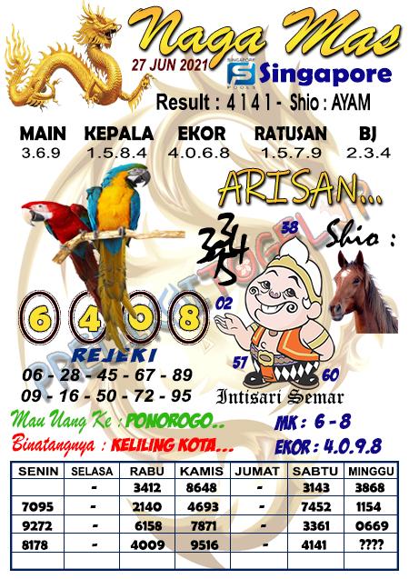 Syair Naga Mas SGP Minggu 27 Juni 2021