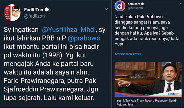 Fadli Zon Tanggapi Yusril yang Bilang Tak Ada Track Record Prabowo-Sandi Pejuang Islam