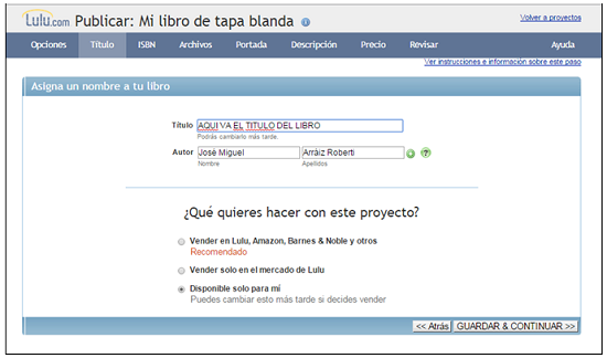 Introduciendo la metadata del libro en Lulu