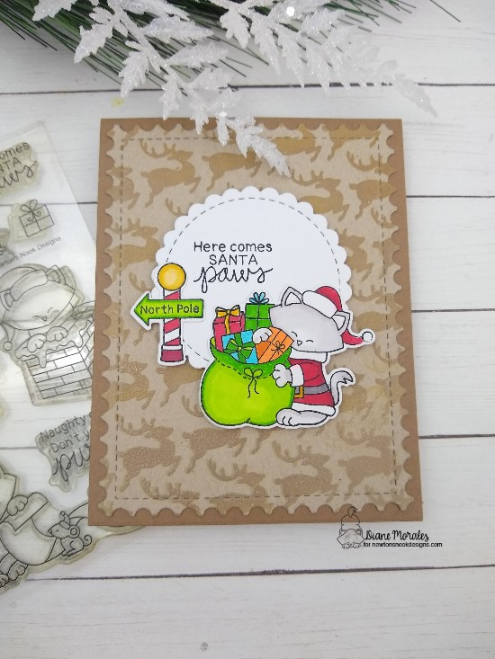 Here comes Santa Paws by Diane features Santa Paws Newton, Circle Frames, Reindeer, Framework by Newton's Nook Designs; #newtonsnook, #cardmaking, #christmas