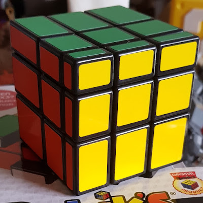 Rubik's Blocks cube with differently sized blocks making up each face