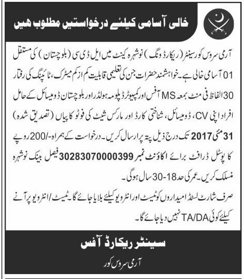 Matric Level Jobs In Army Service Center Nowshera 2017