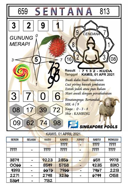 Syair Sentana SGP Kamis 01-04-2021