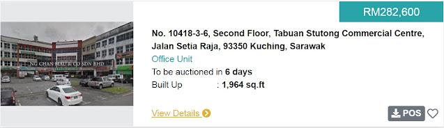 Rumah di Kuching Sarawak di Lelong bermula pada harga RM283 ribu
