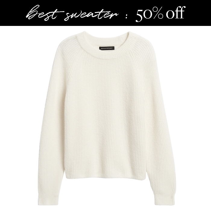 cozy white aire banana republic sweater on sale