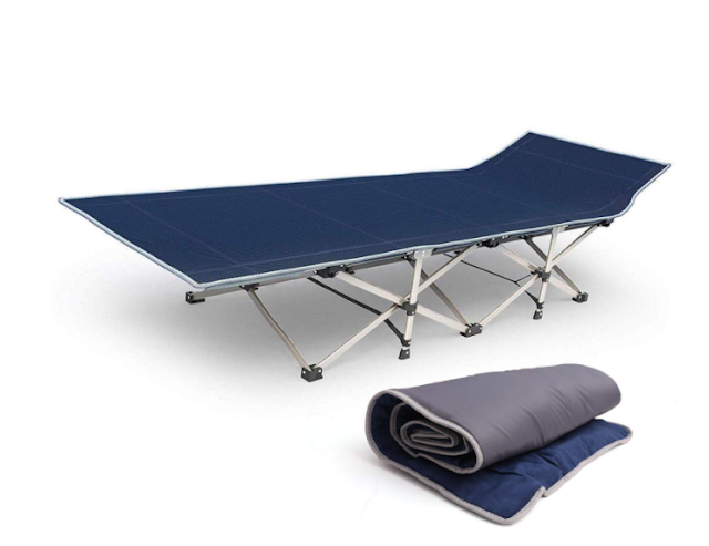 Kurtzy Folding Bed Cot with Portable Mattress Pad for Camping Picnic and Outdoor