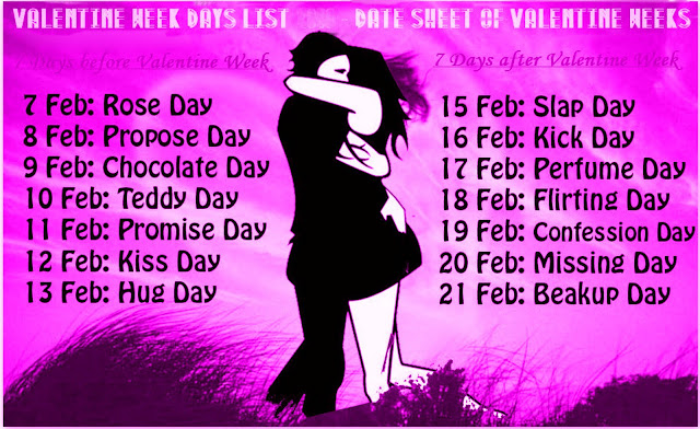 Valentines Day Week List, Date, Schedule, Sheet, Calendar