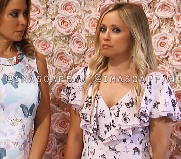 Lulu Spencer Falconeri, Emme Rylan, Ruffled Light Pink and Black Floral Print Chiffon Dress, General Hospital, GH