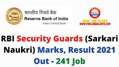 Sarkari Result: RBI Security Guards (Sarkari Naukri) Marks, Result 2021 Out - 241 Job
