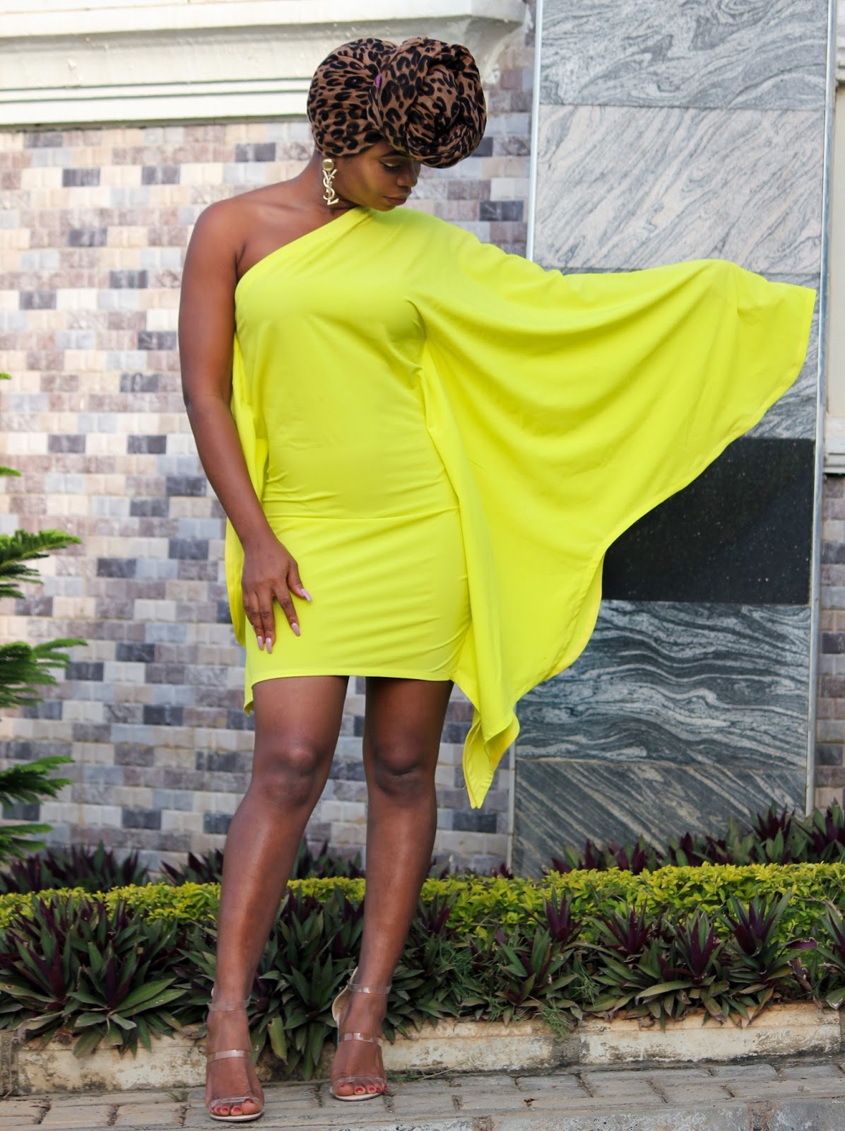 ONE SHOULDER DRESS - Mono Sleeve Bat-wing Style Dress in Neon from Porshher