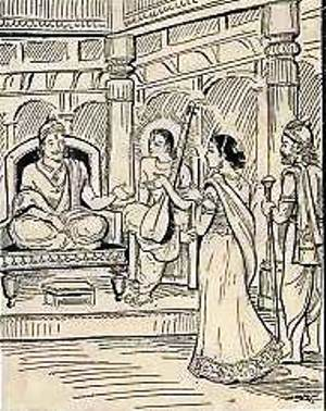 सावित्री ने सत्यवान से अपने पिता से शादी करने का अपना फैसला सुनाया और ऋषि नारद ने इसे एक भयानक अप-शगुन घोषित कर दिया। (सौजन्य: गीता प्रेस द्वारा महाभारत)