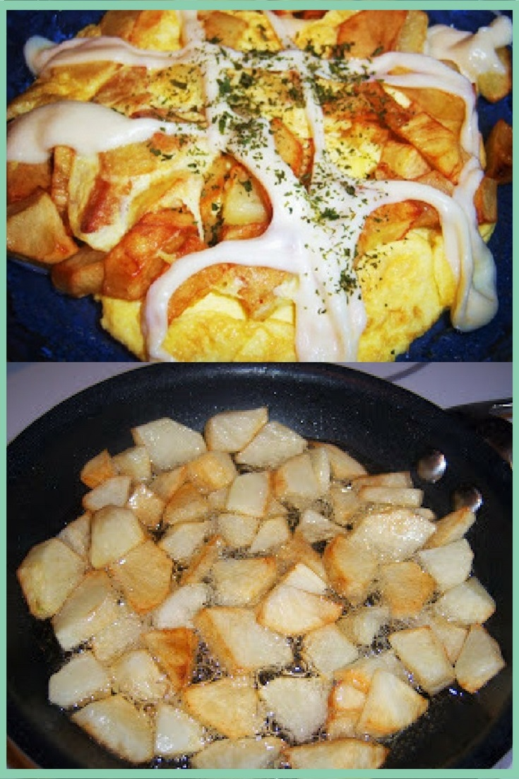 Fried sauteed potatoes in a fry pan with potatoes, eggs, peppers, and pepperoni mom called depression food in 1950's that would feed the family with melted cheese on top which is mozzarella