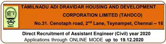 TAHDCO Civil Engineer Vacancy Recruitment 2020