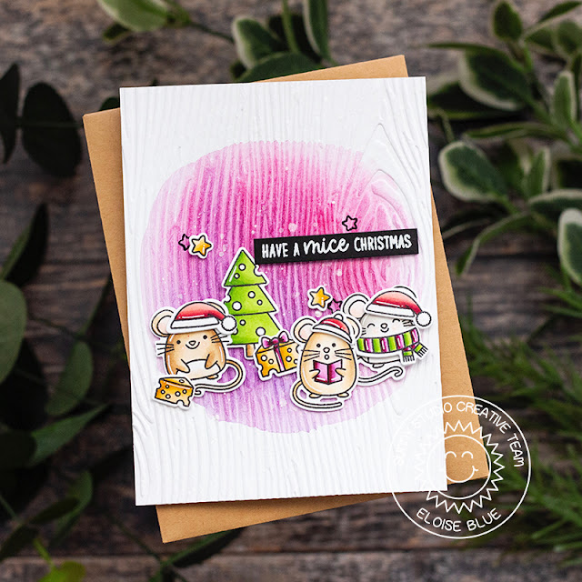 Sunny Studio Stamps: Merry Mice Embossing Folders Christmas Card by Eloise Blue