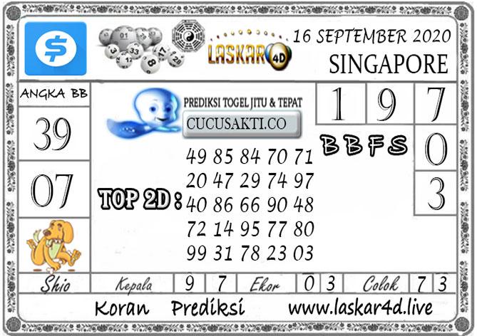 Prediksi Togel SINGAPORE LASKAR4D 16 SEPTEMBER 2020