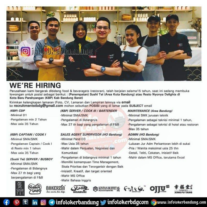 Lowongan Kerja Sushi Tei & Resto Nynya Delights Bandung Maret 2021