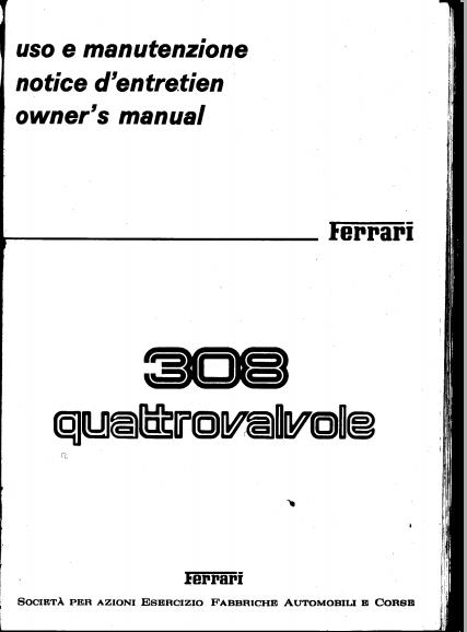 Free Automotive Manuals: FERRARI 308 QV OWNERS MANUAL