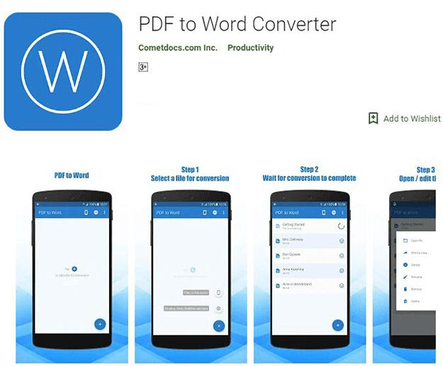 تطبيق PDF to Word Converter للتحويل