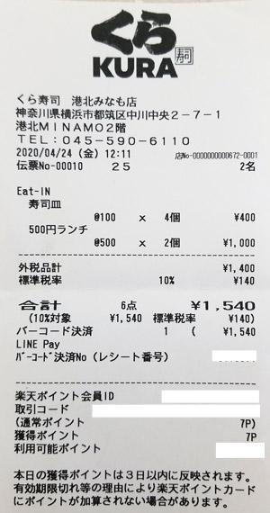 くら寿司 港北みなも店 2020/4/24 飲食のレシート