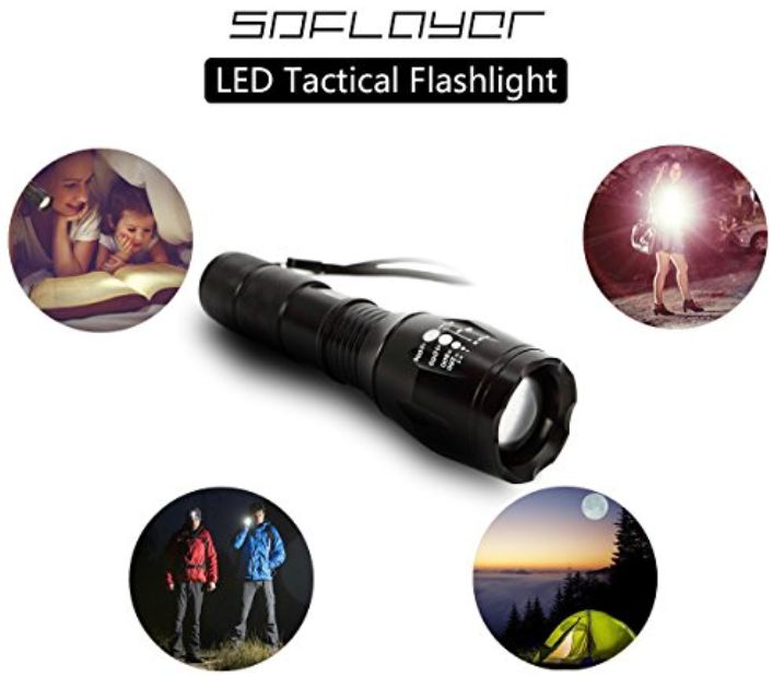SDFLAYER Flashlight: Rechargeable High Powered Zoomable Handheld LED Torch Light