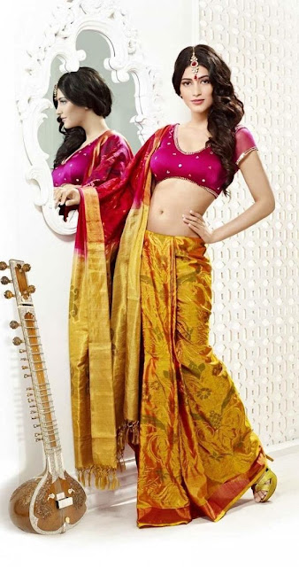 Rising Indian Film Actress Shruti Haasan Looking Beautiful In Lehenga Choli.