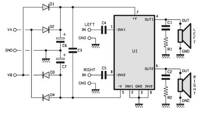 2x15w stereo power amplifier circuits based tda1521. Black Bedroom Furniture Sets. Home Design Ideas