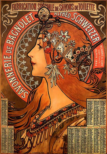 Publicidad para el jabón Bagnolet, Alfons Mucha
