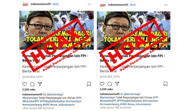 Hoax Soal Berita Viral Kemendagri Tolak Perpanjangan FPI