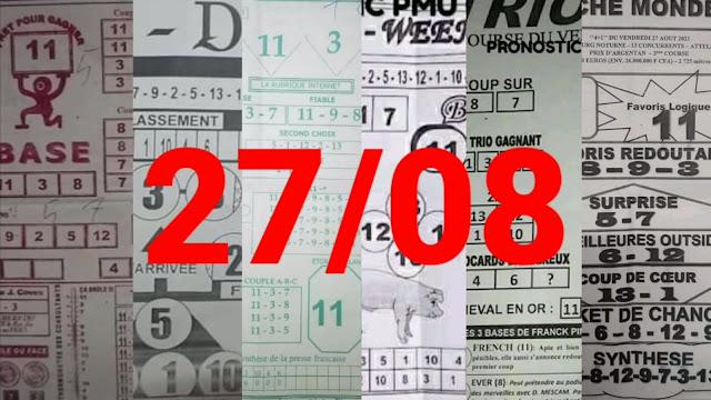 Pronostic quinté+ pmu vendredi Paris-Turf-100 % 27/08/2021