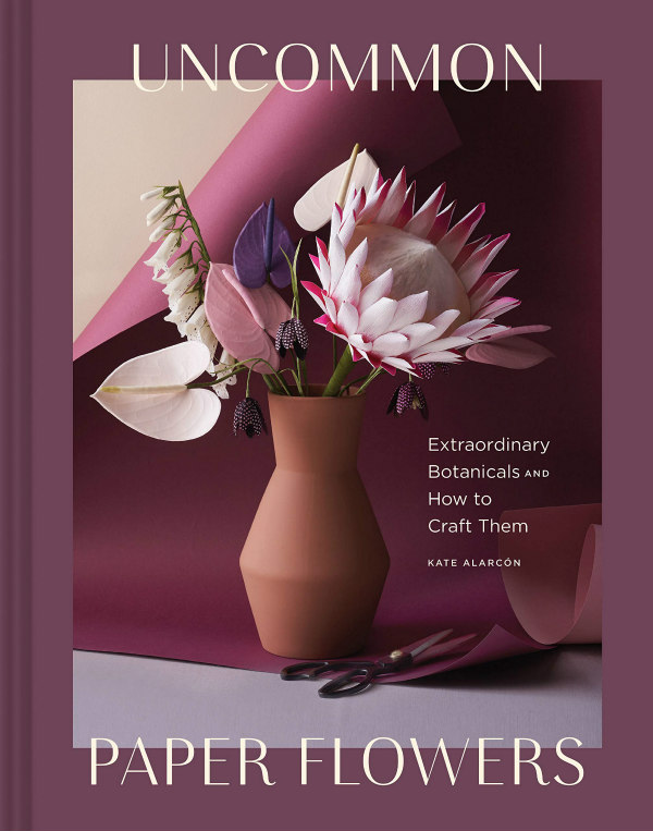 Uncommon Paper Flowers, a paper craft book with paper flower arrangement in vase on the cover
