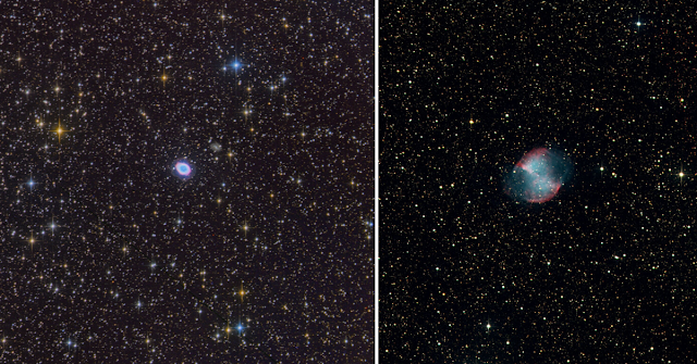 M57, The Ring Nebula in Lyra imaged on ATEO-1 processed by Utkarsh Mishra (left) and M27, The Dumbell Nebula in Vulpecula imaged on ATEO-1 processed by Michael Petrasko.