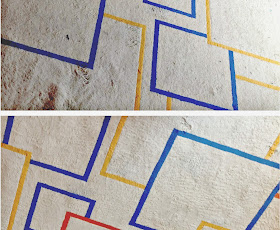 Comparison showing before and after spot-cleaning a rug with WD40