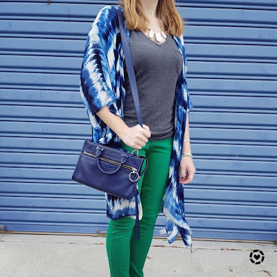 awayfromtheblue Instagram | spring school run outfit green jeans navy tie dye kimono grey tee micro bedford bag