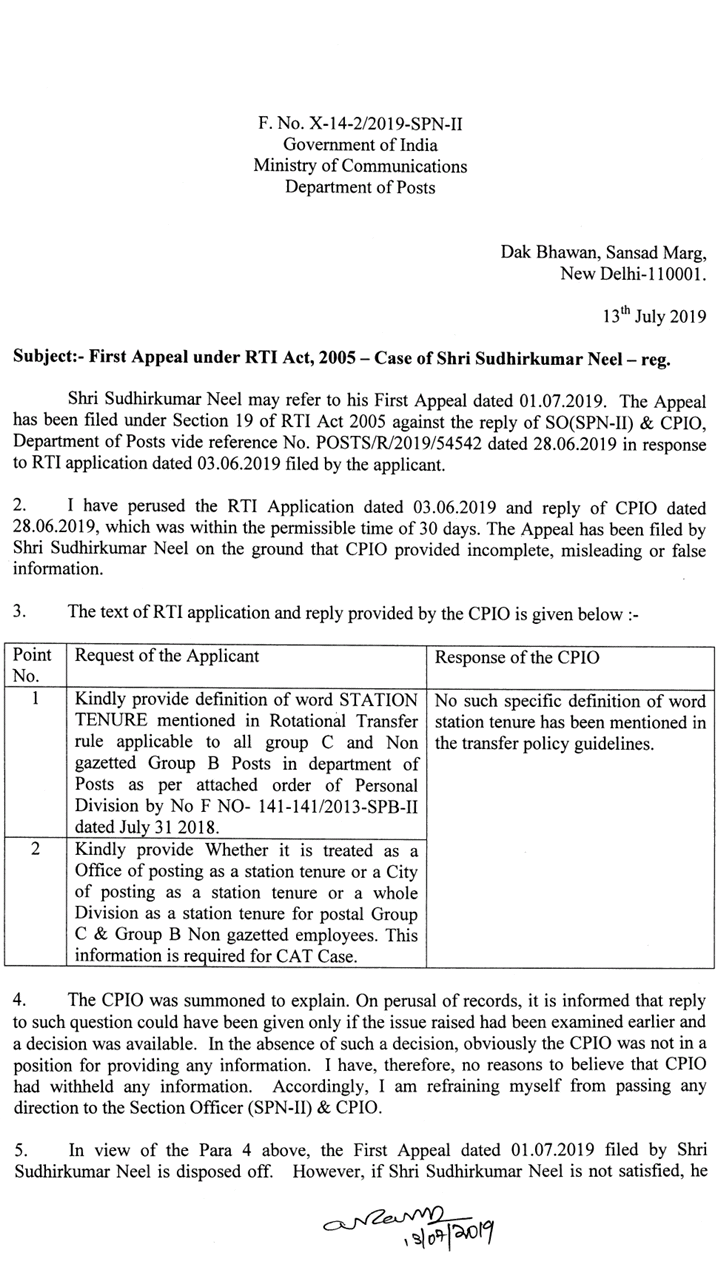 station tenure RTI appeal