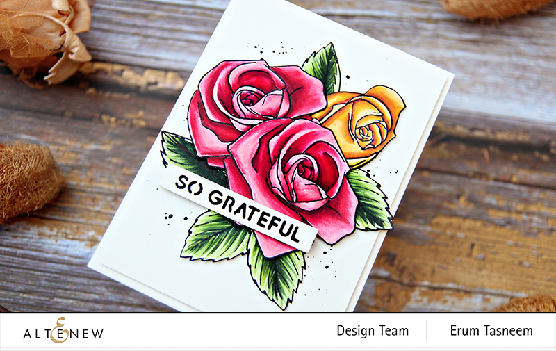 Altenew Cartoon Rose Stamp Set + Artist Markers | Erum Tasneem | @pr0digy0
