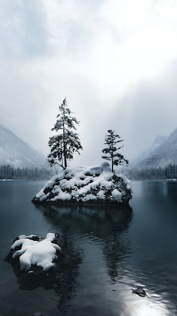 Screen background, Snow, Winter, Mountains, Lake, Forest, Trees, Fog