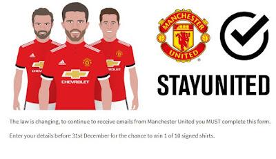 Manchester United StayUnited GDPR website