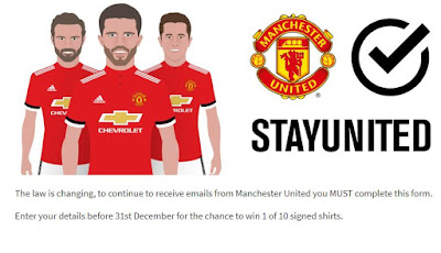 Manchester United StayUnited GDPR website