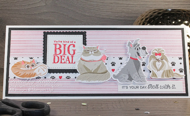 playful pets in a slimline card