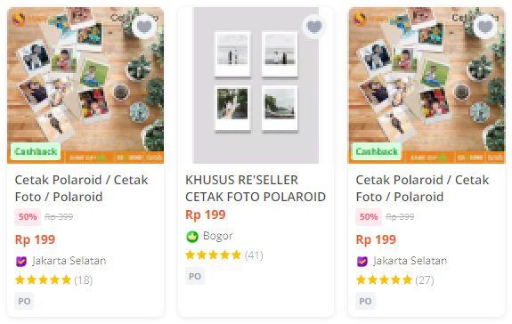 usaha cetak foto polaroid di marketplace online