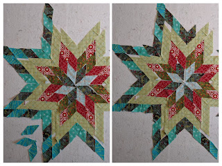 Turquoise and dark green alternate in these two layouts for the outer row