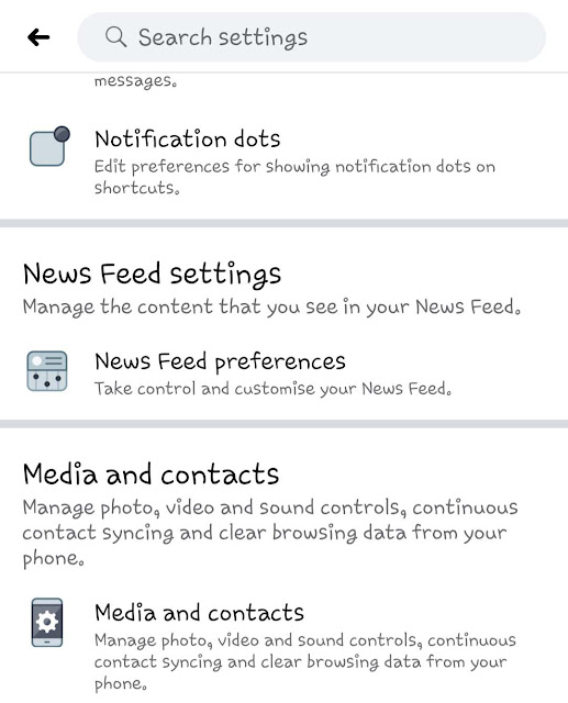 Media and Contacts - Facebook settings