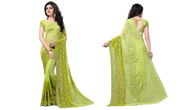 195f12d7f8d Fab Valley Women Georgette Heavy Latest Designer Embroidery Party Wear  Party Wear Fancy Saree SareeWith Blouse