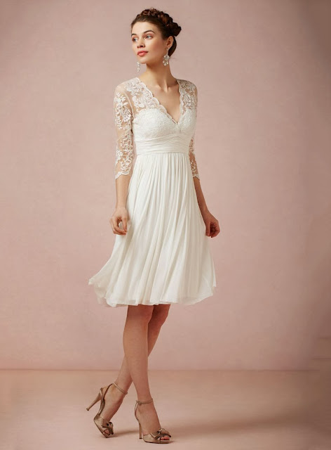 Charming A-Line/Princess V-neck Knee-length /Lace Wedding Dress
