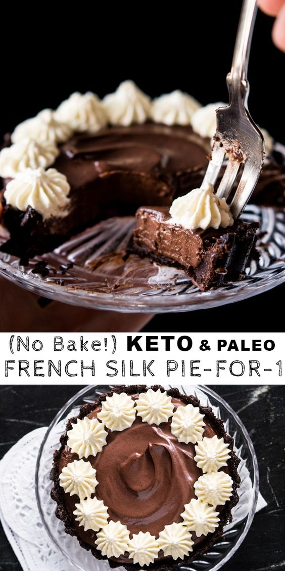 (No-Bake!) Chocolate French Silk Pie-For-1 🍫 gluten free, keto & paleo
